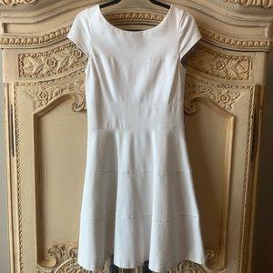 White ponte knit dress.